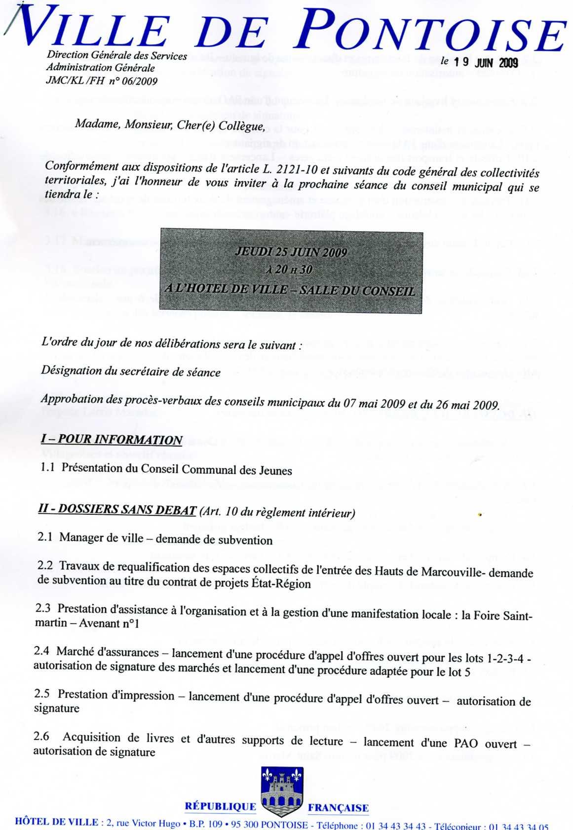ordre du jour page 1